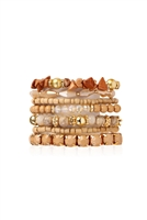 S6-4-2-AHDB1937LBR LIGHT BROWN MULTI LINE BRACELET/6PCS