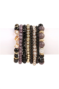 S6-6-3-AHDB1938BK BLACK BOX-GLAM MULTIBEADED BRACELET SET/6SETS
