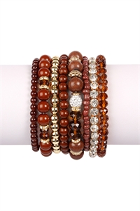 S5-5-2-AHDB1938BR BROWN BOX-GLAM MULTIBEADED BRACELET SET/6SETS