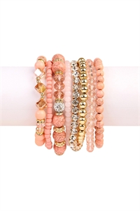 S4-4-5-AHDB1938LPK LIGHT PINK BOX-GLAM MULTIBEADED BRACELET SET/6SETS