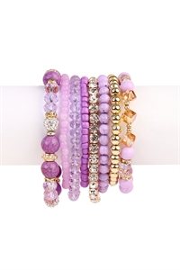 S5-4-3-AHDB1938PU PURPLE BOX-GLAM MULTIBEADED BRACELET SET/6SETS