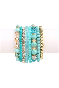 S4-4-5-AHDB1938TQ TURQUOISE BOX-GLAM MULTIBEADED BRACELET SET/6SETS