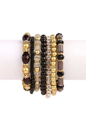 S6-4-3-AHDB1939BK-BOX BLACK CLASSY MULTIBEADED BRACELET/6PCS