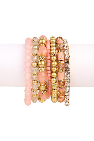 S5-5-3-AHDB1939DPK-BOX DUSTY PINK CLASSY MULTIBEADED BRACELET/6PCS