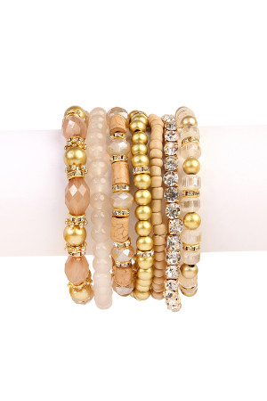 S5-5-3-AHDB1939LBR-BOX LIGHT BROWN CLASSY MULTIBEADED BRACELET/6PCS