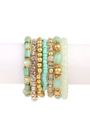 S6-4-3-AHDB1939MN-BOX MINT CLASSY MULTIBEADED BRACELET/6PCS