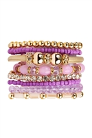 S5-4-3-AHDB1940PU PURPLE MULTI LINE BRACELET/6PCS