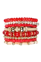 S4-4-3-AHDB1940RD RED CLASSIC MULTIBEADED BRACELET SET/6SETS