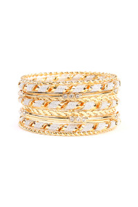 S5-4-2-AHDB1941G GOLD MULTI LAYER BANGLE BRACELET/6PCS