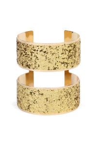 S4-4-2-AHDB1943G GOLD WIDE ARM CUFF BRACELET/6PCS