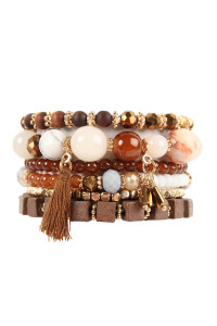 S6-6-3-AHDB2056BR BROWN CHARM STACK BRACELET/6PCS