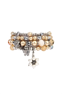 S6-6-4-AHDB2076TP TAUPE BUTTERFLY, PEARL CLASSY STACKABLE BRACELET/6PCS