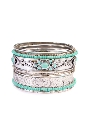 S5-5-3-AHDB2087 TURQUOISE BANGLE BRACELET SET/6SETS