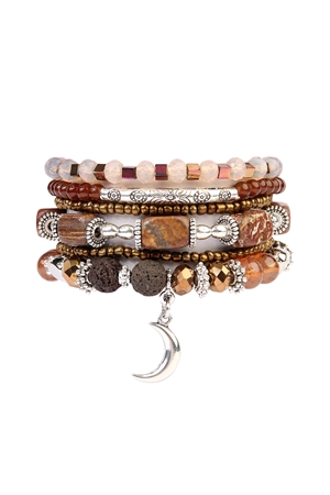 S7-5-4-AHDB2123BR BROWN LUNA STRETCH BRACELET SET/6SETS