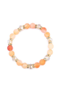 S6-6-3-AHDB2152BE BEIGE RONDELLE, GLASS, STONE BEADS STRETCH BRACELET/6PCS