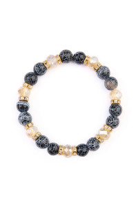 S6-5-3-AHDB2152JT JET BLACK RONDELLE, GLASS, STONE BEADS STRETCH BRACELET/6PCS
