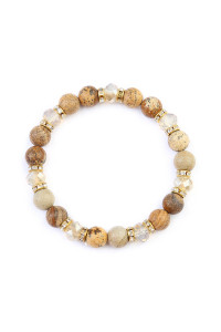 S7-5-4-AHDB2152LCT BROWN RONDELLE, GLASS, STONE BEADS STRETCH BRACELET/6PCS