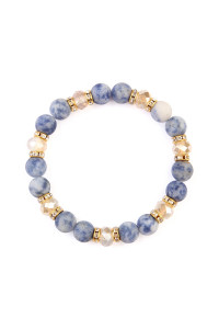 S6-5-3-AHDB2152MO BLUE WHITE RONDELLE, GLASS, STONE BEADS STRETCH BRACELET/6PCS