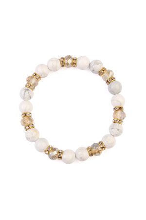 S6-6-3-AHDB2152WH WHITE RONDELLE, GLASS, STONE BEADS STRETCH BRACELET/6PCS