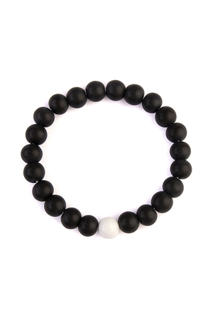 A3-3-4-AHDB2182 BLACK TWO TONE MARBLE BEADS BRACELET/6PCS