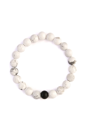S5-4-3-AHDB2184 WHITE BLACK TWO TONE MARBLE BEADS BRACELET/6PCS