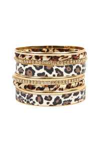 S4-6-1-AHDB2195A LEOPARD STACKABLE BANGLE BRACELET SET/6SETS