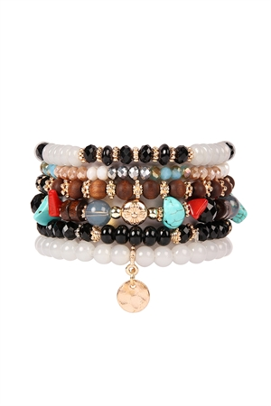 S4-5-4-AHDB2199BK BLACK MULTI BEADED CHARM STACKABLE BRACELETS/6PCS