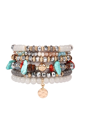 S4-4-4-AHDB2199GY GRAY MULTI BEADED CHARM STACKABLE BRACELETS/6PCS