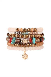 S4-5-4-AHDB2199LBR LIGHT BROWN MULTI BEADED CHARM STACKABLE BRACELETS/6PCS