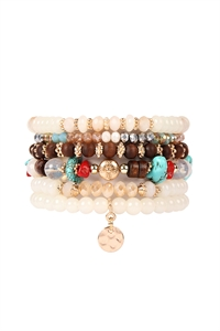 S4-4-4-AHDB2199NA NATURAL MULTI BEADED CHARM STACKABLE BRACELETS/6PCS