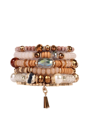 S4-4-4-AHDB2200LBR LIGHT BROWN MULTI STONE BEADS STACKABLE BRACELET/6PCS