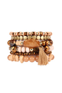 S4-5-3-AHDB2201LBR LIGHT BROWN BOHO CHARM TASSEL BRACELET/6PCS