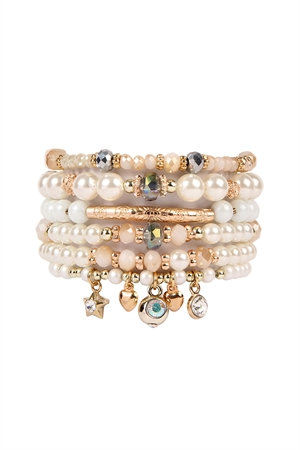 S4-4-3-AHDB2202BG GOLD MULTI BEADED CHARM BRACELETS/6PCS