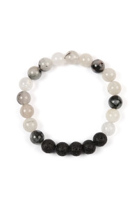 S6-4-2-AHDB2208BW BLACK WHITE 8MM NATURAL STONE STRETCH BRACELET/6PCS