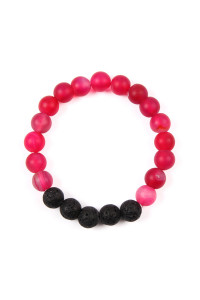 SA4-2-4-AHDB2208HPK HOT PINK 8MM NATURAL STONE STRETCH BRACELET/6PCS