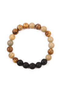 SA4-2-4-AHDB2208LCT LIGHT BROWN 8MM NATURAL STONE STRETCH BRACELET/6PCS