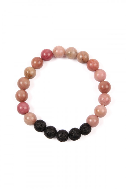 SA4-2-4-AHDB2208PK PINK 8MM NATURAL STONE STRETCH BRACELET/6PCS