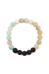 S6-4-2-AHDB2208POM LIGHT MULTI COLOR 8MM NATURAL STONE STRETCH BRACELET/6PCS