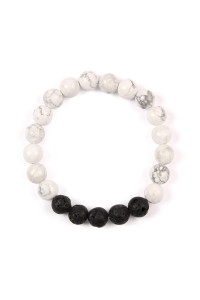 S6-6-4-AHDB2208WT WHITE 8mm NATURAL STONE BRACELET/6PCS