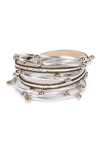 SA4-3-3-AHDB2219S SILVER MAGNETIC LOCK LEATHER WRAP BRACELET/6PCS