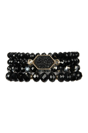 S6-4-3-AHDB2227BK BLACK DRUZY STONE HEXAGON GLASS BEADS BRACELET/6PCS