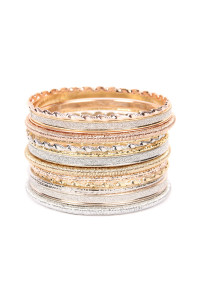 SA3-3-3-AHDB2229 MULTI LINE EMBELLISHED RING BANGLE BRACELET/6PCS