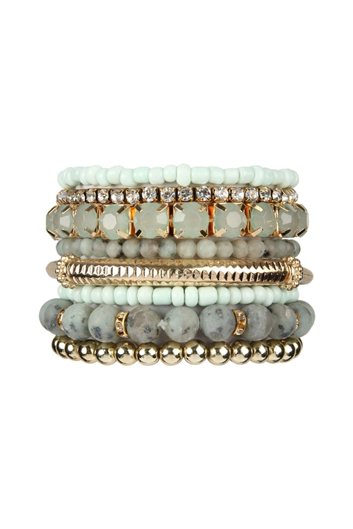S18-8-2-HDB2244CH- REGULAR SIZE STACK-ABLE BEADS BRACELET SET - CHARCOAL/6PCS