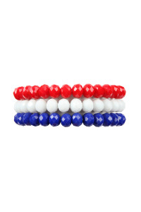 S7-4-1-AHDB2258 RED WHITE BLUE THREE GLASS BEADS STRETCH BRACELET/6PCS