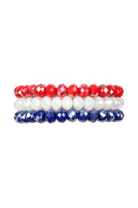 SA4-1-2-AHDB2258AB IRIDESCENT RED WHITE BLUE THREE GLASS BEADS STRETCH BRACELET/6PCS