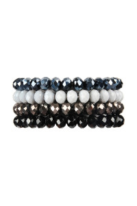 S5-5-3-AHDB2259BK BLACK FOUR LINE CRYSTAL BEADS STRETCH BRACELET/6PCS