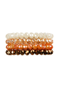 S19-12-1-AHDB2259BR BROWN FOUR LINE CRYSTAL BEADS STRETCH BRACELET/6PCS