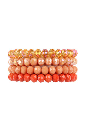 SA4-2-3-AHDB2259CO CORAL FOUR LINE CRYSTAL BEADS STRETCH BRACELET/6PCS