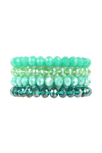 S19-12-1-AHDB2259GR GREEN FOUR LINE CRYSTAL BEADS STRETCH BRACELET/6PCS