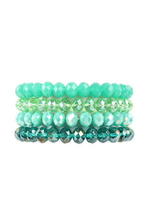 S5-6-4-AHDB2259GR GREEN FOUR LINE CRYSTAL BEADS STRETCH BRACELET/6PCS
